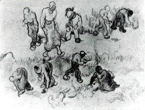 Vincent Van Gogh - Sheet with Numerous Sketches of Working People