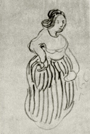 Vincent Van Gogh - Woman with Striped Skirt