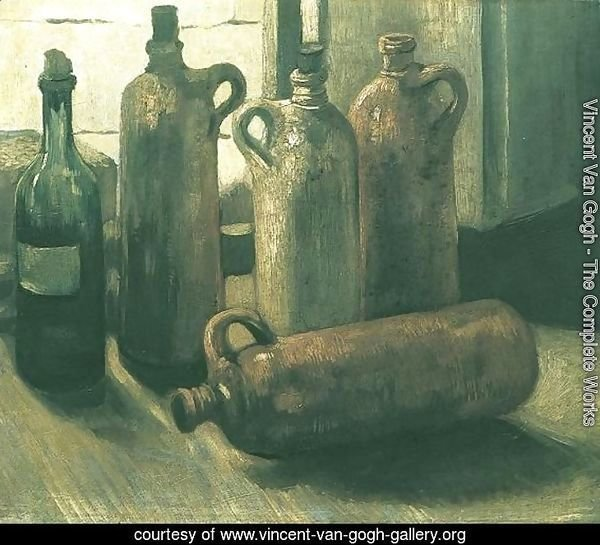 Still Life with Five Bottles 2