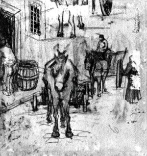 Vincent Van Gogh - Studies of Donkey Carts