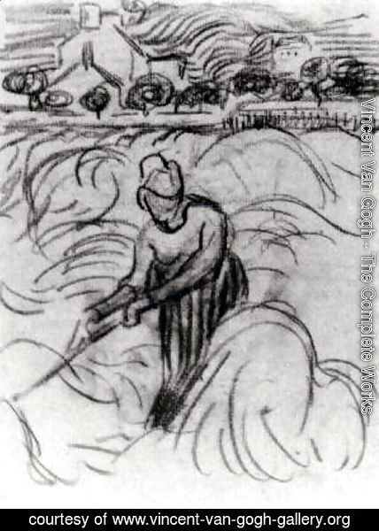 Vincent Van Gogh - Woman Working in Wheat Field