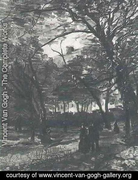 Bois De Boulogne With People Walking The II