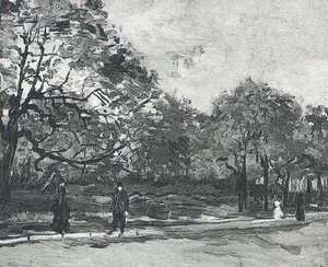 Bois De Boulogne With People Walking The III