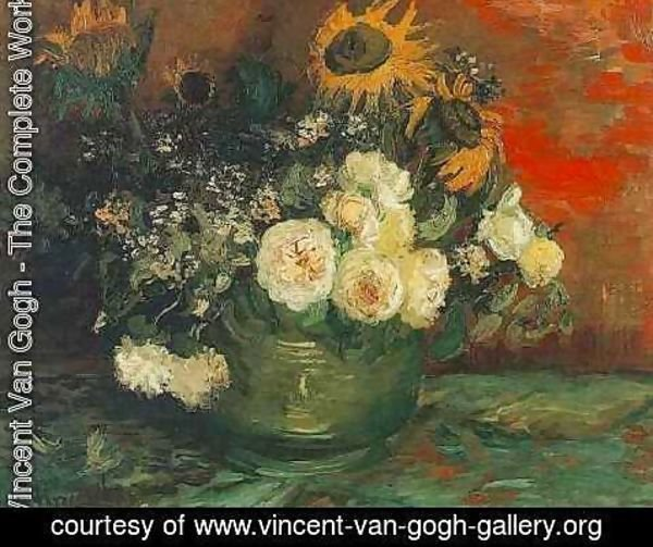 Vincent Van Gogh - Bowl With Sunflowers Roses And Other Flowers