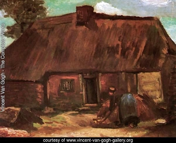 Cottage With Peasant Woman Digging