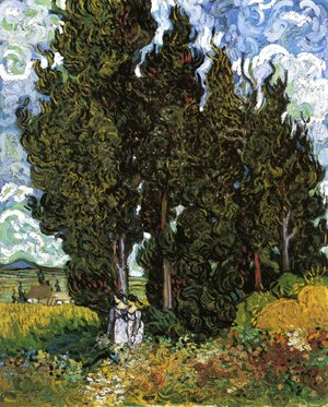 Vincent Van Gogh - Cypresses With Two Female Figures