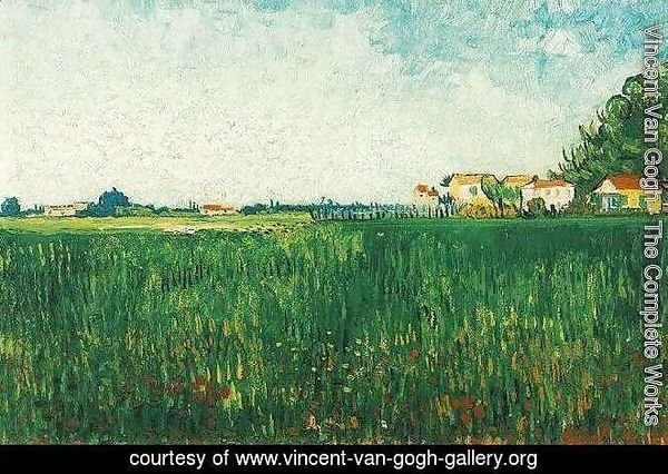 Farmhouses In A Wheat Field Near Arles
