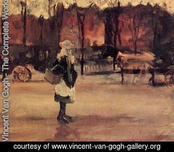 Vincent Van Gogh - Girl In The Street Two Coaches In The Background A