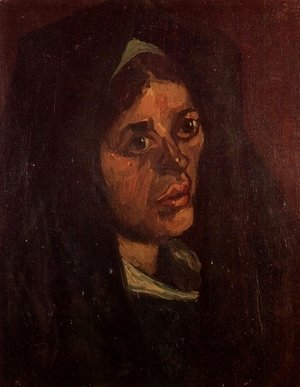 Head Of A Peasant Woman In A Green Shawl