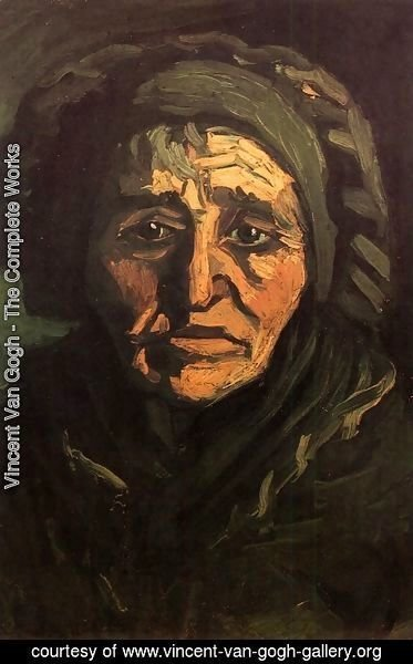 Vincent Van Gogh - Head Of A Peasant Woman With Greenish Lace Cap