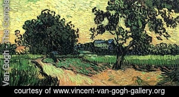 Vincent Van Gogh - Landscape With The Chateau Of Auvers At Sunset