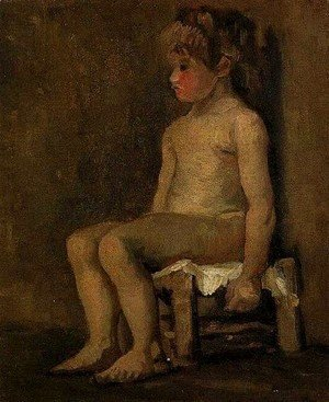 Nude Study Of A Little Girl Seated