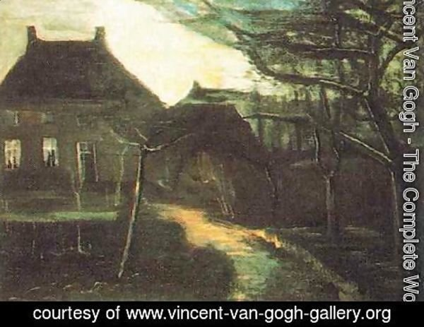 Vincent Van Gogh - The Parsonage At Nuenen By Moonlight