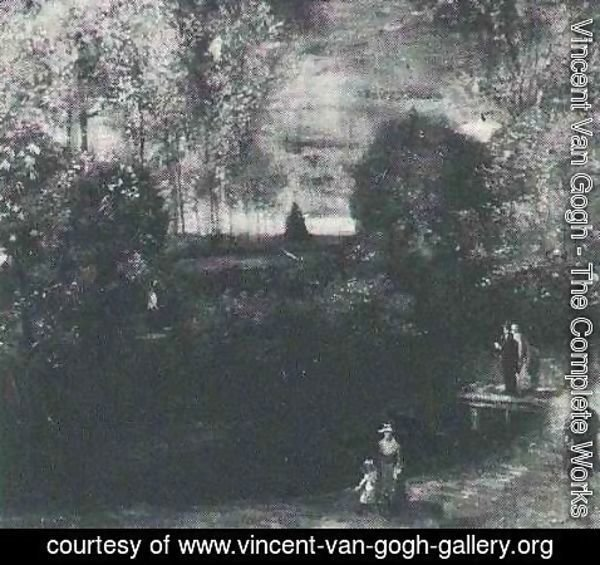 Vincent Van Gogh - The Parsonage Garden At Nuenen With Pond And Figures