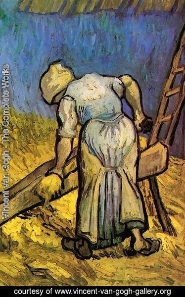 Vincent Van Gogh - Peasant Woman Cutting Straw (after Millet)