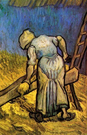 Peasant Woman Cutting Straw (after Millet)