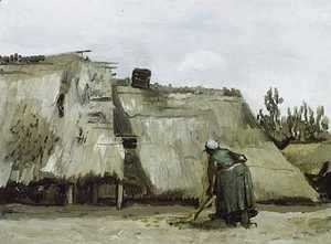 Peasant Woman Digging In Front Of Her Cottage