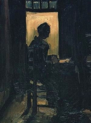 Vincent Van Gogh - Peasant Woman Seated Before An Open Door Peeling Potatoes