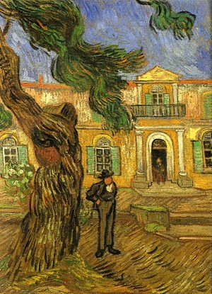 Vincent Van Gogh - Pine Trees With Figure In The Garden Of Saint Paul Hospital
