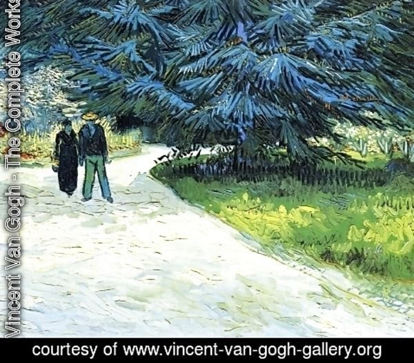 Vincent Van Gogh - Public Garden With Couple And Blue Fir Tree: The Poets Garden III