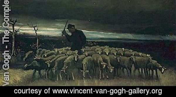 Vincent Van Gogh - Shepherd With A Flock Of Sheep