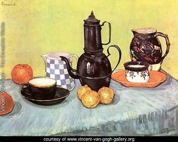 Blue Enamel Coffeepot Earthenware And Fruit