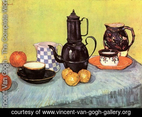 Vincent Van Gogh - Blue Enamel Coffeepot Earthenware And Fruit