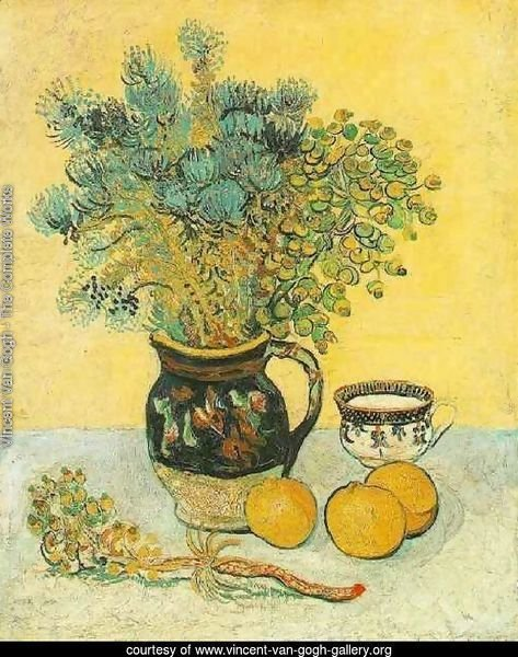 Majolica Jug With Wildflowers