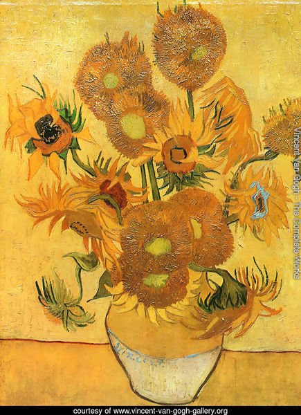 Vase With Fifteen Sunflowers II