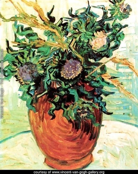 Vase With Flower And Thistles