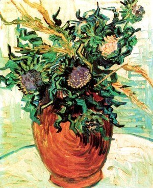 Vincent Van Gogh - Vase With Flower And Thistles