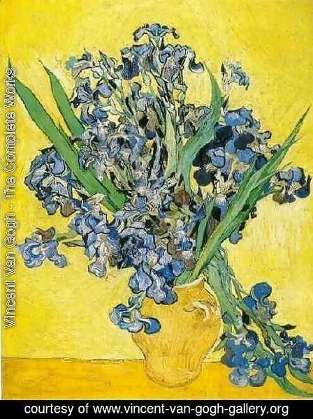 Vincent Van Gogh The Complete Works Vase With Irises Against A