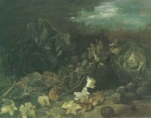 Still Life With A Basket Of Potatoes Surrounded By Autumn Leaves And Vegetables