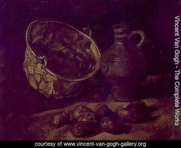 Still Life With Brass Cauldron And Jug