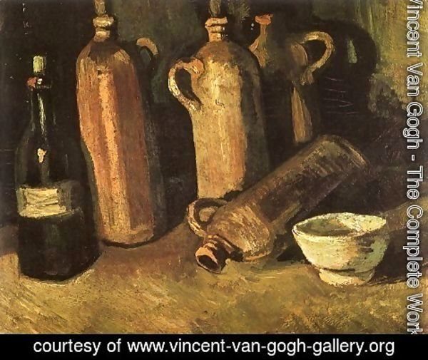 Vincent Van Gogh - Still Life With Four Stone Bottles Flask And White Cup