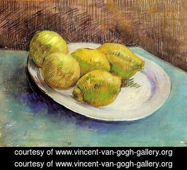 STILL LIFE WITH ORANGES LEMONS AND BLUE GLOVES PAINTING BY VAN GOGH REPRO