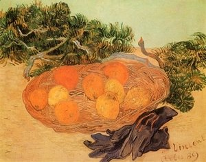Still Life With Oranges Lemons And Blue Gloves