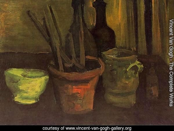Still Life With Paintbrushes In A Pot