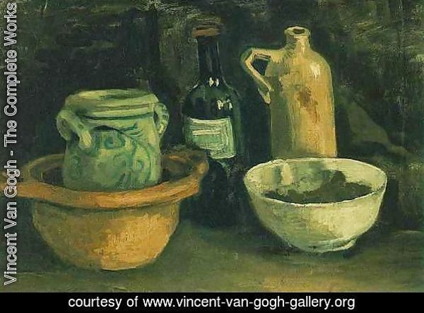 Still Life With Pottery And Two Bottles
