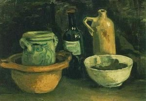 Vincent Van Gogh - Still Life With Pottery And Two Bottles