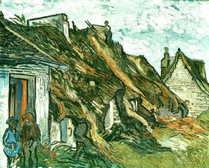 Vincent Van Gogh - Thatched Sandstone Cottages In Chaponval