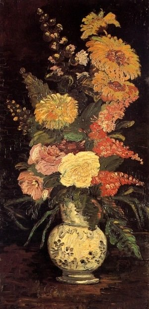 Vincent Van Gogh - Vase With Asters Salvia And Other Flowers