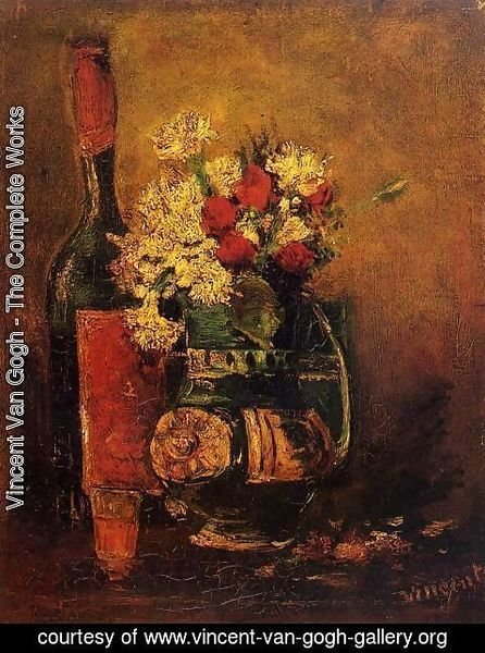 Vincent Van Gogh - Vase With Carnations And Roses And A Bottle