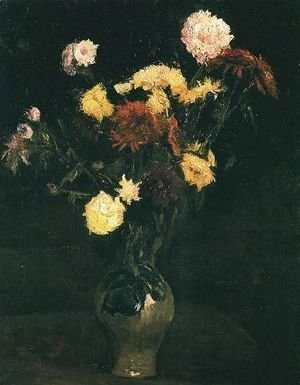 Vase With Carnations And Zinnias