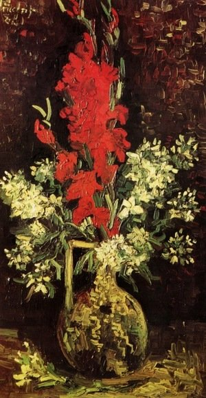Vase With Gladioli And Carnations II