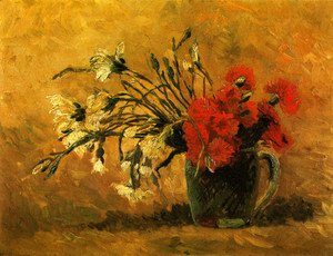 Vincent Van Gogh - Vase With Red And White Carnations On Yellow Background