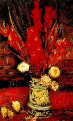 Vase With Red Gladioli II