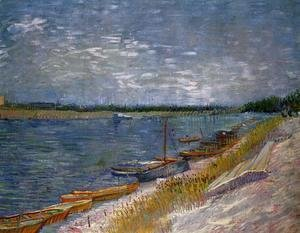 Vincent Van Gogh - View Of A River With Rowing Boats
