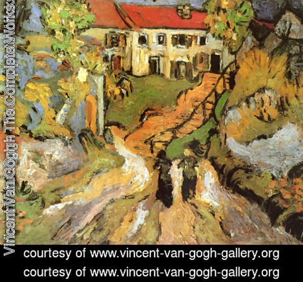 Vincent Van Gogh - Village Street And Steps In Auvers With Two Figures