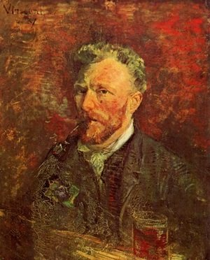 Vincent Van Gogh - Self Portrait With Pipe And Glass